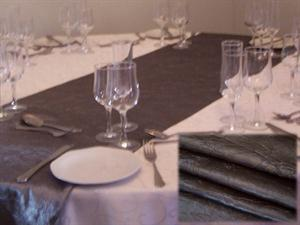 Gun-Metal Grey Tafitta Table Runner