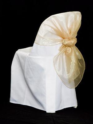 Half Chair Sash - Champagne Organza
